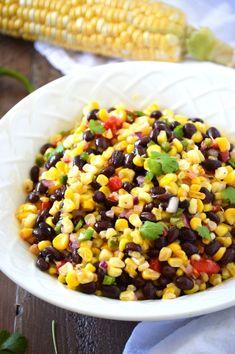 Corn Salad {AKA Texas Caviar} makes a great side dish made with fresh sweet corn. You can also serve it as a snack or appetizer with some gluten free tortilla chips. From @whattheforkblog