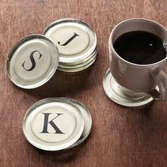 Typerwriter Font Coasters. An initial to represent each family member or all with the letter of your last name! Love them!!