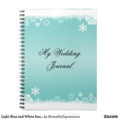 Light Blue and White Snowflake Wedding Journal