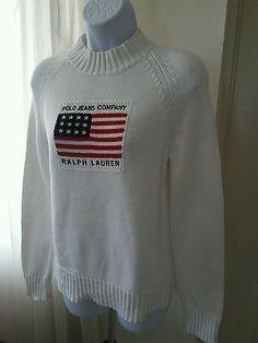 Polo-Jeans-Co-Ralph-Lauren-Women-Cotton-Ski-Sweater-Sz-Med-USA-Flag-Ivory-White