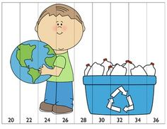 Skip Counting Game for April- This game is super easy to make- just print, laminate and cut! This document contains 16 different sheets that can be used in your math centers for skip counting. Skills reinforced- counting by and Skip Counting Activities, Earth Day Activities, Space Activities, Back To School Activities, Recycling Games, Lego Math, Human Body Unit, Community Helpers, Preschool Worksheets