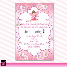 Happy birthday invitation cards in hindi birthday invitations cute printable personalized princess fairy birthday party invitation card lovely pixie invite printing available custom stopboris Image collections