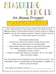 Miss Third Grade  This Measuring Length activity could be sent home for students to work on and coincides with a math portion of a unit (3.3.2) for length