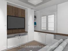Projeto de quarto de TV clean e cheio de armários. http://dicasdearquitetura.com.br/quarto-de-tv-com-armarios/