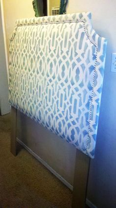 Stenciled Headboard using Cutting Edge Stencils' Trellis Allover Stencil. make your own headboard. maybe in turquoise, gold and white. white down comforter, black bed frame