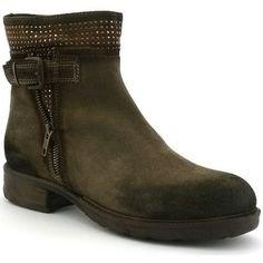 b027fb0d8e9b66 Bottines coco abricot x2042d de couleur taupe, en cuir. Chaussures à talon  de 3