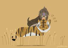 A baboon licking a tiger.