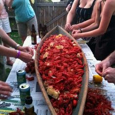Serving crawfish out of a pirogue is just fun...