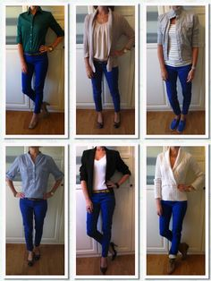 I never know what to wear with my blue pants! Cobalt Blue Pants, Bright Blue Pants, Blue Pants Outfit, Blue Leggings, Casual Outfits, Cute Outfits, Fashion Outfits, Work Outfits, Spring Outfits