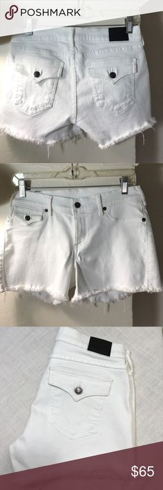 """True Religion Joey Frayed five pocket shorts. B102 True Religion Joey Frayed five pocket shorts. 98% Cotton 2% Elastane. Five pocket style. 30"""" waist 3"""" inseam 8"""" rise. Zip fly with front button closure. True Religion Shorts Jean Shorts"""
