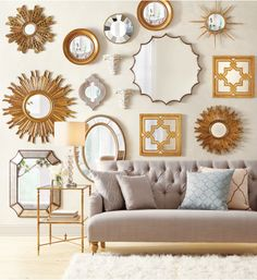 Too many mirrors or not?  Love this idea for a living room.