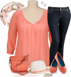 Women's Plus-Size Outfit: Think Spring! Peasant top, dark wash jeans, scraf, fedora, crossbody handbag, coral flats. Featuring items from H&M, Maurices, Amazon, Walmart, Old Navy, Boscov's, and ModCloth.