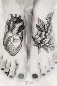 Alex Tabuns foot tattoos heart and flowers.. i like the flower one not so much the heart one