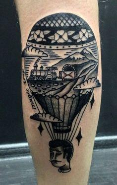 Hot air balloon tattoo...beautiful detail and so original!