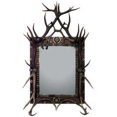 1stdibs.com   19th c. German Rustic Oak And Horn Vertical Wall Mirror