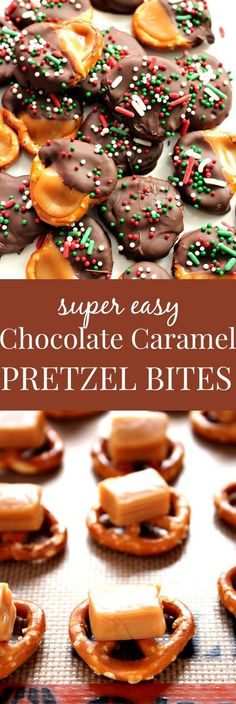 Easy Chocolate Caramel Pretzel Bites Recipe – super easy candy idea for the holidays! Great gift for chocolate and caramel pretzels 12 in caramel squares unwrapped, cut half, I… Christmas Snacks, Christmas Cooking, Holiday Treats, Christmas Goodies, Christmas Parties, Holiday Gifts, Christmas Deserts Easy, Easy Christmas Appetizers, Easy Christmas Cookies