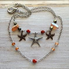 Starfish Necklace, by MeyerClarkCreative with Healing Crystals, Peach Quartz Points, Starfish Charm, Gemstone Gift, Sea inspired, Silver Chain, Gift for Her