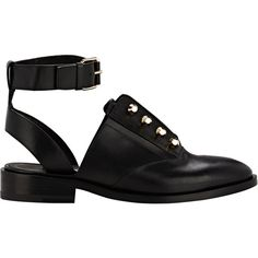 Balenciaga Pierced Ankle-Strap Oxfords (£535) ❤ liked on Polyvore featuring shoes, oxfords, flats, footwear, colorless, flat shoes, studded flat shoes, low heel shoes, studded flats and balenciaga flats