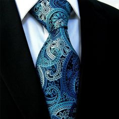 Shlax & Wing Mens Tie Neckties Floral Black Blue Azure 100% Silk Jacquard…