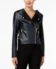 Michael Michael Kors Petite Faux-Leather Moto Jacket - Blue P/