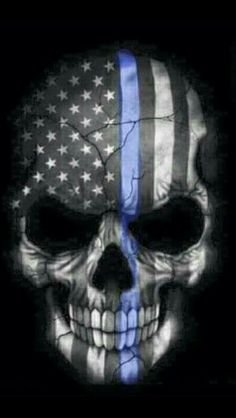 Punisher Skull American Flag Police Blue Line Decal Sticker Graphic