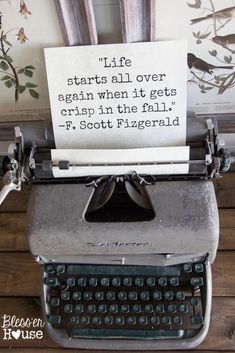 2015 Fall Home Tour: Part Two Easy decorating tip for any season: Use an old typewriter to tuck in a quote or scripture relating to any holiday of the year. Cellos, Nostalgia, Vintage Typewriters, Vintage Cameras, Different Words, Diy Décoration, Autumn Home, Fall Halloween, Beautiful Words