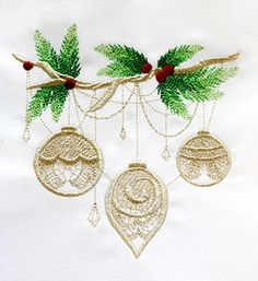 Gilded Yule - Ornaments - Thread List | Urban Threads: Unique and Awesome Embroidery Designs