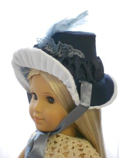 American Girl Doll Clothes - Doll Hat - Regency Bonnet - Little Girl Blue