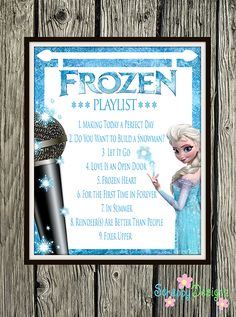 "Frozen Inspired Karaoke Party Printables - Frozen Soundtrack Playlist 8"" x 10"" Printable Poster"