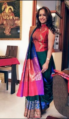 Looking for Jacket Blouse Designs for sarees? Here are our picks of 16 amazing blouse designs you can wear with any saree. Blouse Back Neck Designs, Fancy Blouse Designs, Sari Blouse Designs, Blouse Styles, Saree Styles, Choli Designs, Mehndi Designs, South Indian Blouse Designs, Saree Wearing Styles