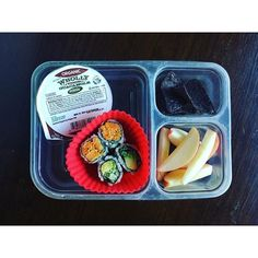 School lunch: wholly guacamole single serve (from Costco), garden of eatin blue corn chips, pink lady apples and leftover sushi (cucumber avocado and sweet potato).