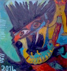 Eine Malerei des italienischen Art-Brut-Malers Ugo Mainetti, *1945, der ursprünglich Metzger war. Metzger, Art Brut, Painting, Pictures, Painting Art, Paintings, Painted Canvas, Drawings
