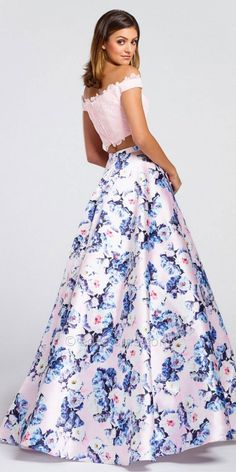 Off The Shoulder Two Piece Floral Ball Gown by Ellie Wilde for Mon Cheri #edressme