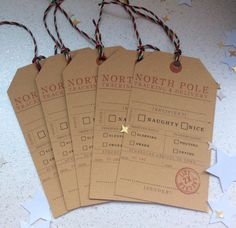 Naughty or nice, Christmas gift tags /labels. Christmas tag 5 in a pack. Gift tag. Tracking from the North Pole Hang tag, Funny Holiday tag.