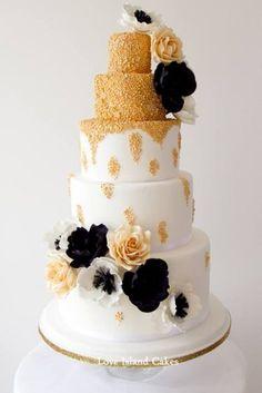"""Vintage Hollywood Gold"" wedding cake  ~ All edible!"