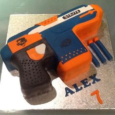 Nerf gun cake by buddyshomebakery.co.uk - For all your cake decorating supplies, please visit craftcompany.co.uk