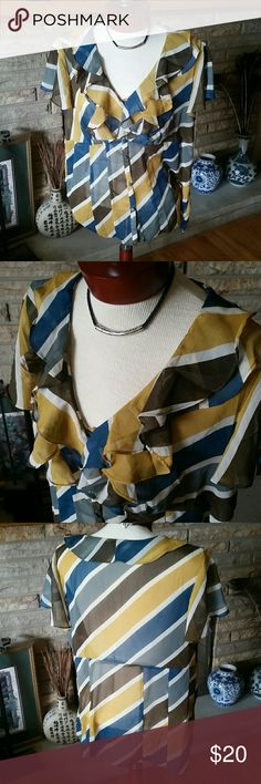 Pretty Sheer Blouse Size XXL Like new blouse Limited edition by Target. Mustard, Teal, Off White and Army Green. Button front fabric covered buttons. V neck with ruffled neckline. Great for the warm weather! Size XXL. Target  Tops Blouses