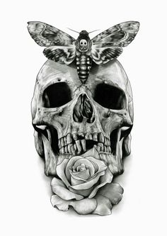Death moth skull tattoo