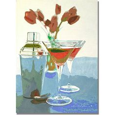 Trademark Art Tulips and Martinis Canvas Wall Art by David Lloyd Glover, Size: 18 x 24, Multicolor