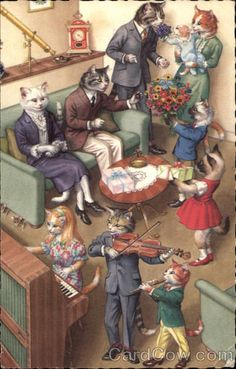 I think many of us have at some point seen an image sampled from a vintage Alfred Mainzer Cat postcard (Mainzer was the publisher; the images were painted by Swiss artist Eugen Hurtung). Recognize ...