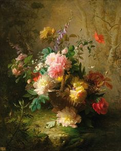 Jules-Ferdinand Medard, Still Life with Peonies, 1877  - love the way the light travels in this painting!