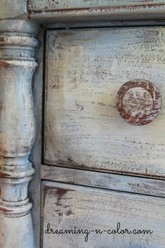dreamingincolor: Layering Paint on a Dresser Love the old look of this paint!