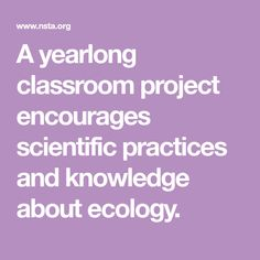 A yearlong classroom project encourages scientific practices and knowledge about ecology. Sage Garden, Classroom Projects, Teaching Science, Earth Science, Ecology, Compost, Encouragement, Knowledge, Geology