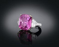 Estate Sapphire Jewelry, Pink Sapphire Jewelry, Ceylon Pink Sapphire Ring ~ M.S. Rau Antiques.  Over 16 carats of rare Ceylon sapphire.