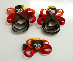 DIY Turkey Bow #DIY #Turkeys #Bows #Thanksgiving #Accessories #Clips #Hair #HairClips