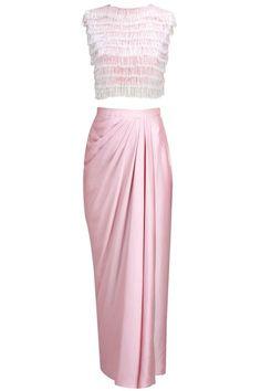 NEETA LULLA Pink satin skirt with crop salli jacket available only at Pernia's Pop-Up Shop. Indian Dresses, Indian Outfits, Pakistani Dresses, Skirt Fashion, Fashion Dresses, Batik Fashion, Saree Gown, Satin Skirt, Draped Skirt