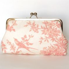 Kisslock Frame Clutch Silk Lined with Pink Toile Birds Bridesmaid Bride Wedding Gifts Preppy Prep Bridal on Etsy, $64.00