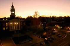 Barren County Courthouse on the square in downtown Glasgow, KY at sunset.