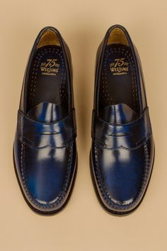 Bass Weejuns Limited Anniversary Penny Loafers I could not resist … again ! Made to mark the anniversary of G., this unusual blue color should look really cool whether with a. Blue Loafers, Dress Loafers, Penny Loafers, Loafers Men, Sock Shoes, Men's Shoes, Shoe Boots, Dress Shoes, Gentleman Shoes
