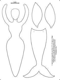 Goddess form art doll template fairy wings and mermaid tail - Paper Art Doll Template - from The Enchanted Gallery. See more templates and finished dolls at http://www.theenchantedgallery.com/paperdolls.html